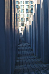 Memorial to the Murdered Jews of Europe (Debarshi Ray) Tags: germany berlin holocaust worldwarii secondworldwar memorial memorialtothemurderedjewsofeurope canon canonef50mmf18ii canoneos70d windows building autumn city grey mitte