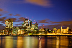 Golden City (Petr Horak) Tags: london unitedkingdom uk europe britain british britishisles greatbritain lnd city londontower londoncity bluehour dusk x100t x100 fuji thames river building