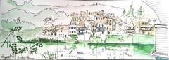 Argentat,  sous le pont, au bord de la Dordogne (Croctoo) Tags: croctoo croctoofr croquis watercolor aquarelle correze argentat dordogne encre