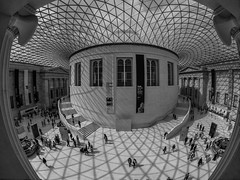 The View from Level 3 - British Museum (davepickettphotographer) Tags: britishmuseum london cityoflondon greatrussellstreet greatcourt museum uk england britain shadows light fisheye lens