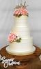 pink peony wedding cake (RebeccaSutterby) Tags: 3tier rustic wedding cake gumpaste sugar flowers peonies peony ranunculus glitter topper wooden pioneerwomancakestand gold burlap