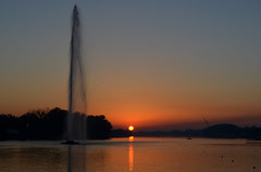 Every sunset brings the promise of a new dawn (Valantis Antoniades) Tags: serbia belgrade ada ciganlija fountain sunset lake river