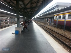 Thailand Hat Yai Station 20180121_164058 LG (CanadaGood) Tags: asia seasia asean thailand thai songkhla hatyai railway srt staterailwayofthailand people person station ticket sign track train canadagood 2018 thisdecade color colour ราชอาณาจักรไทย cameraphone fence