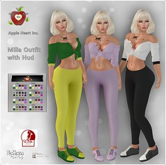 Apple Heart Inc. Milla Outfit with Hud! (Apple Heart Inc.-SL) Tags: mesh outfit hud knotted top leggings sneakers belleza maitreya slink