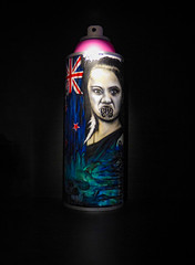 The Moko (Steve Taylor (Photography)) Tags: moko tattoo flag feather chin can aerosol art graffiti mural streetart symbol deow pink blue black white red woman lady newzealand nz southisland canterbury christchurch city ymca maori
