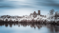 Ely Cathedral blue (jmbillings) Tags: 720nm ir lake blue cathedral church cloud ely infrared infraredimages medieval pit reflected reflection roswell sky toned travel water