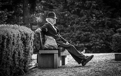 When (adrianmihoc) Tags: recreation old man time chill park trees bushes garden footpath