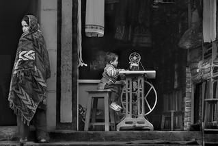 kid on sewingmachine  II