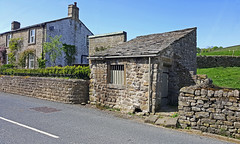Old Jail or 'Lock up' - Eastby near Embsay. (wontolla1 (Septuagenarian)) Tags: wednesdaywalk eastby embsay yorkshire dales walking walk hiking hike jail prison hut building disused unused derelict bars old stone samsung galaxy s6 edge mobile phone skipton lockup pub masons arms public house