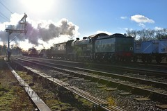 B12 No.8572 passing through Swithland, with a Leicester North - Loughborough service. Winter Steam Gala, Great Central Railway. 28 01 2018 (pnb511) Tags: greatcentralrailway trains railway locomotives loco steam locomotive locos engine smoke power track semaphore signal gantry sun sky trucks freight goods
