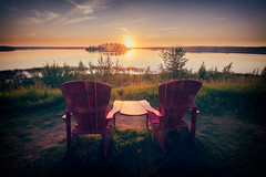 Summer Long Weekends (`James Wheeler) Tags: alberta canada chairs elkislandnationalpark island relationship sunrise sunset outdoor relax chair water sun nature sky bench dusk landscape lake noperson reflection wood sunlight