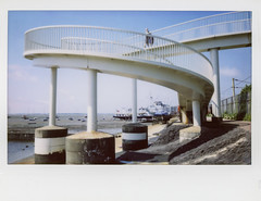 Gypsy Bridge / Fuji Instax 210 (ho_hokus) Tags: 2018 england essex essexcoast fujifilmwide gypsybridge hmswilton instantcamera instantfilm instax instax210 instaxwide leighonsea uk bridge ship shore coast coastline