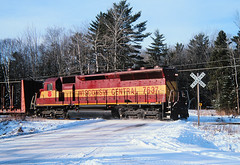 Long Hood Flareward (view2share) Tags: wc7637 wc wisconsincentral winter weather emd electromotivedivision engine baragacounty baraga sd45 upperpeninsula uppermichigan northernmichigan northwoods northwood lansesub michigan mi december272002 december2002 december 2002 deansauvola snow snowfall sun logs local locomotive log flatcar railway railroading rr railroads rail rails railroaders railroad rring roadtrip rrcar trains train track transportation tracks transport trackage trees crossing selkeyroad