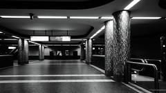 Station Rüttenscheider Stern (frankdorgathen) Tags: essen rüttenscheid mundane urban city wide angle weitwinkel perspective perspektive schwarzweiss schwarzweis blackandwhite monochrome station bahnhof ubahn metro subway underground column säule hoherkontrast highcontrast escalator rolltreppe