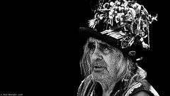 On Strange Tides. (Neil. Moralee) Tags: neilmoralee piratebrixhamneilmoralee man face portrait pirate old mature stubble beard hair hat vodoo vodou shells contrast black white bw bandw monochrome blackandwhite brixham devon 2018 festival uk weird neil moralee nikon d7200 candid street sinister majic magic dark curse rum sailor