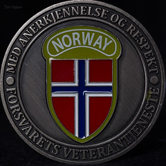 Macro Mondays - Low Key (Normann Photography) Tags: 202018 forsvaretsveterantjeneste hmm mm macromondays norge unifil blackbackground commemorativecoin lowkey medannerkjennelseogrespekt minnemynt veteran