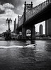 Sunday Driver (Kenneth Laurence Neal) Tags: newyorkcity eastriver 59thstreetbridge water rivers boats blackandwhite monoto urban architecture clouds shadows cities
