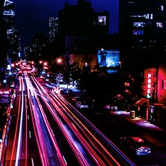 Evening Traffic in Chelsea NYC (shawnseeley45) Tags: nyc chelsea thehighline 10thavenyc longexposure traffic lighttrails meatpackingdistrict newyorkcity thebigapple