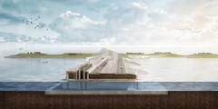 Spui- en pompcomplex Den Oever - nieuw spuimiddel tusseneilanden doorsnede