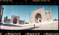 In Shadows (tsiklonaut) Tags: horizon 202 panorama panoramic pano 135 35mm film analog analogue analogica analoog roll uzbekistan bukhara buhhaara city cityscape old centralasia kodak ektar 100 color negative cn c41 drumscan scan scanner pmt travel discover experience mosque architecture islamic islam minaret dome domes