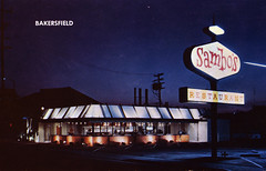 An Evening at Sambo's (1966) (Brett Streutker) Tags: restaurant cafe diner eatery food hamburger cheeseburger eat fast macdonalds burger vintage colonel sanders kentucky fried chicken big mac boy french fries pizza ice cream server tip money cash out dining cafeteria court table coffee tea serving steak shake malt pork fresh served desert pie cake spoon fork plate cup drive through car stand hot dog mustard ketchup mayo bun bread counter soda jerk owner dine carry deliver monochrome people photo