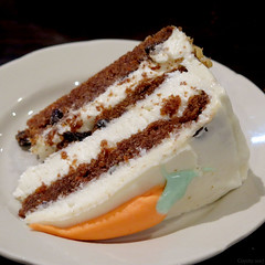 Carrot cake (Coyoty) Tags: townlinediner rockyhill connecticut ct diner restaurant food carrot cake carrotcake dessert frosting white brown orange green bokeh black lowkey squareformat square triangle sweet sugar
