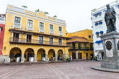 Cartagena, Colombia (MikePScott) Tags: arch architecturalfeatures balcony builtenvironment camera cartagena clouds colombia door featureslandmarks lens monument motorcycle nikon2470mmf28 nikond600 palm roof sky statue transport trees window