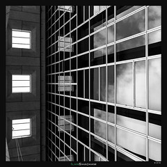 Meriadeck Matrix (Ilan Shacham) Tags: abstract architecture fineart fineartphotography graphic shape form lines perspective modern building reflection clouds matrix meriadeck bordeaux france bw blackandwhite square