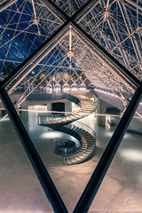 Through the pyramid (Julien CHARLES photography) Tags: europe france louvre muséedulouvre paris pyramid pyramide archi architecture bluehour museum musée night nuit pyramidedulouvre stair stairs window windows