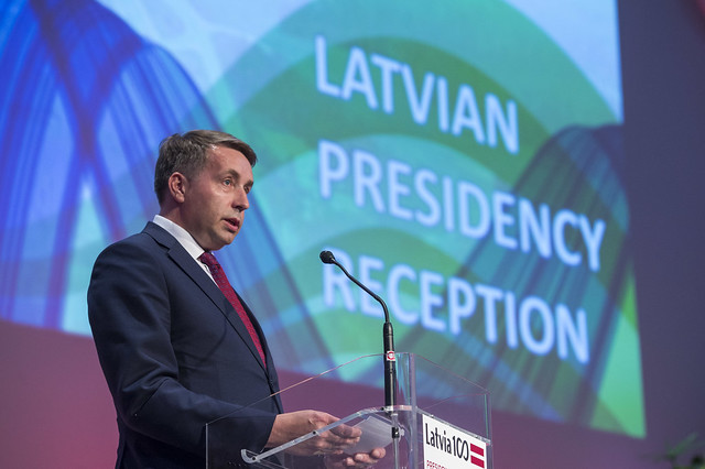 Uldis Augulis delivering a speech