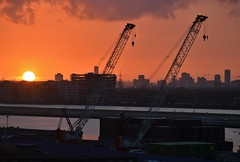 Royal Docks (2) 17-05-18 (AJBC_1) Tags: london londoncityairport eglc lcy royaldocks ©ajc dlrblog londonsroyaldocks newham londonboroughofnewham eastlondon docklands england unitedkingdom uk northwoolwich nikond3200 sunset dusk ajbc1 citybuilding cityoflondon cityskyline crane crawlercrane greatbritain gb kgvdock kinggeorgevdock londoncityairportdevelopmentproject cadp plant constructionequipment deldencranes buildings