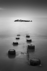 Franklin Jetty (Thomas Pohlig) Tags: seashore sea series seascape rockpile rocks jersey jerseyshore jetty newjersey capemay beach ocean longexposure sunset blackandwhite blackandwhitephotography monochrome mono