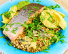 Monday dinner. Baked salmon with baked leftover cauliflower rice and quinoa. (garydlum) Tags: anchovies quinoa salmon cauliflowerrice oliveoil chillies chilliflakes avocado cheese bluecheese belconnen australiancapitalterritory australia au