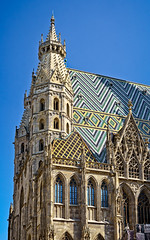 Stephansdom (Tigra K) Tags: 2017 architecture church city gargoyle gothic lattice mosaic ornament romanesque roof spire tiles tower vienna window wien austria at pattern arch