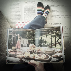Feet up and thinking of summer. (Milly M.) Tags: book bookproject texture texturedwork feet italiancookery cookbook legs