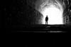 Search of the waste line mark [Explored] (明遊快) Tags: bw blackandwhite man fog moon travel monochrome shadow dark alone silhouette backlit dawn tunnel candid