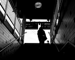 Ascending (A. Yousuf Kurniawan) Tags: trainstation streetphotography urbanlife cameraphone cameraphonestreetphotography black contrast decisivemoment monochrome blackandwhite people silhouette