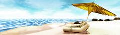 Summer Retreat (Bellissa Dion) Tags: ocean second life sl blue umbrella beach lounge summer clouds white water rocks sand yellow cushion stripes dune coast sky sunny