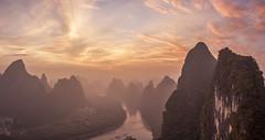 The li river dream (Gregory Michiels Photography) Tags: yangshuo guangxi karst hill travel explore discover panorama landscape sunrise li river lijiang xianggong mountain xingping china reflection dawn clouds fog