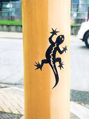 As Fast As Lightening (Steve Taylor (Photography)) Tags: lizard truck digitalart graffiti streetart sticker green yellow white blue newzealand nz southisland canterbury christchurch city silhouette lamppost christchurchartgallery window