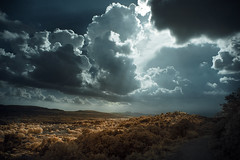Last rays before the storm (Lolo_) Tags: infrared ir provence infrarouge mallemort 715nm france ray light orage rayon soleil nuages clouds colline sentier