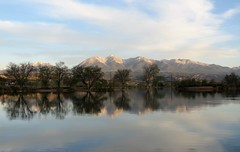 Another Beautiful Morning in Salida (Patricia Henschen) Tags: clouds lake frantzlake frantz swa statewildlifearea sawatch range mountains mountain salida colorado spring trees reflection reflections coloradoparkswildlife sunrise alpenglow