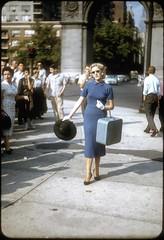 Elegant woman in blue - Manhattan, Brooklyn bridge in the 50's (Bousquairol's Gallery) Tags: slide slides ny diapo diapositive 50s 1950s vintage lady elegant blue
