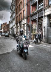 Scooter (dlsmith) Tags: dlsmith sonyrx100m3 sonyrx100 unionjack mods england vespa hdr manchester scooter mod northernquarter mcr streetphotography tibstreet street nq photomatix
