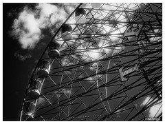 Texas Star in Faux Infrared (PEN-F_Fan) Tags: monotone monochrome mirrorless pencamera olympuspenf northamerica microfourthirds mzuiko12100mmf40pro lens filmlook mft m43 photoborder texasstar texas style zoomlens unitedstatesofamerica type statefair postprocessing photoframe photoedge raw processingsoftware preset bwinfrared blackandwhite alienskin alienskinexposure bwfilms brightglow fair fauxinfrared ferriswheel camera effect exposurex3