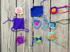 Nine more crochet remnants identified for crochet rehab (crochetbug13) Tags: crochet crocheted crocheting crochetsquares crochetremnants crochetrehab