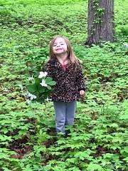 Happy Nature Girl (genesee_metcalfs) Tags: family granddaughter woods nature wildflowers trillium
