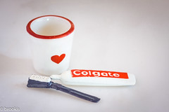 MM: Ready for the Day (brookis-photography) Tags: macromondays readyfortheday cup heart toothbrush toothpaste red white