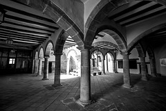 Cloister (Daniel Nebreda Lucea) Tags: black white blanco negro cloister claustro city ciudad old viejo antiguo monochrome monocromatici town pueblo histoy historia art arte travel viajar light lights luz luces shadow shadows sombra sombras building edificio construccion structure estructura stone piedra atmosphere atmosfera composition composicion perspective perspectiva lines lineas shapes formas contrast contraste religion palace palacio castle castillo church iglesia cathedral catedral