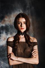 Dasha (en_tatka) Tags: beauty girl studio dress casual long hair fashion bored brunette